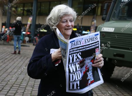 British members of the European Parliament (MEP) from the Brexit Party Ann Widdecombe holds a newspaper in front of the train station as she leaves Brussels, Belgium, 31 January 2020. Britain officially exits the EU on 31 January 2020, beginning an eleven month transition period.
