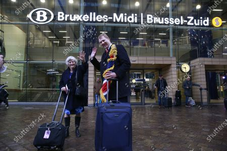 Ann Widdecombe (L), MEP for South West England, along with an unidentified British Member of the European Parliament (MEP) at the Brussels Midi railway station as they leave the EU Parliament for the last time in Brussels, Belgium, 31 January 2020. Britain officially exits the EU on 31 January 2020, beginning an eleven month transition period.