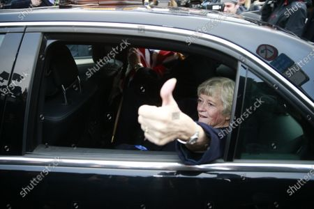 British members of the European Parliament (MEP) from the Brexit Party Ann Widdecombe gives the thumbs up from inside a car as she leaves the EU Parliament for the last time in Brussels, Belgium, 31 January 2020. Britain officially exits the EU on 31 January 2020, beginning an eleven month transition period.