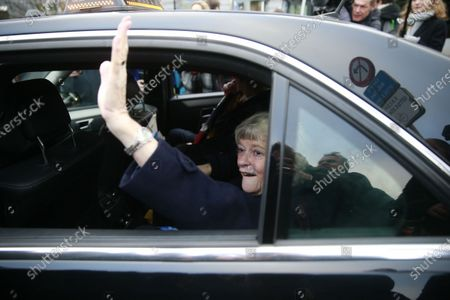 British members of the European Parliament (MEP) from the Brexit Party Ann Widdecombe waves from inside a car as she leaves the EU Parliament for the last time in Brussels, Belgium, 31 January 2020. Britain officially exits the EU on 31 January 2020, beginning an eleven month transition period.