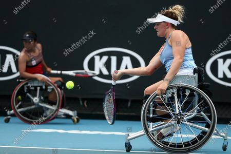 Jordanne Whiley of Great Britain plays a forehand during her wheelchair doubles final with Kamiji of Japan against Diede De Groot of the Netherlands and Anieke Van Koot of the Netherlands during day 12 of the Australian Open tennis tournament in Melbourne, Friday, January 31, 2020.
