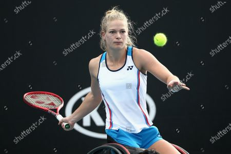 Diede De Groot of the Netherlands plays a forehand during her wheelchair doubles final with Anieke Van Koot of the Netherlands against Jordanne Whiley of Great Britain and Yui Kamiji of Japan during day 12 of the Australian Open tennis tournament in Melbourne, Friday, January 31, 2020.