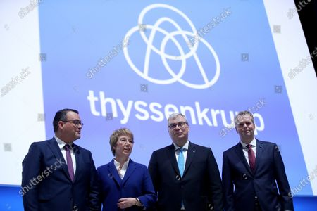 From L-R board members of ThyssenKrupp Oliver Burkhard, ThyssenKrupp CEO Martina Merz, ThyssenKrupp CFO Johannes Dietsch and board member of ThyssenKrupp Klaus Keysberg attend the company's annual general meeting in Bochum, Germany, 31 January 2020. ThyssenKrupp is due to make a decision in coming weeks on possible sale of its profitable escalator and elevator business to boost its financial situation.