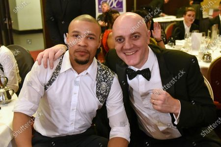 Chris Eubank Jnr with Mickey Helliet during a Boxing Show at the Millenium Gloucester Hotel on 30th January 2020