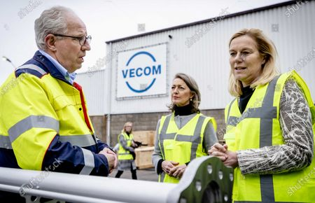 Dutch Minister for Foreign Trade and Development Cooperation Sigrid Kaag (R) and Ineke Dezentje (C), chairwoman of the entrepreneurial organization FME, visit VECOM in Maassluis, The Netherlands, 31 January 2020. The minister visited the service company in the context of the Brexit. VECOM outsources certain activities to the United Kingdom. Britain officially exits the European Union (EU) on 31 January 2020, beginning an eleven month transition period.