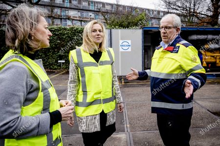 Dutch Minister for Foreign Trade and Development Cooperation Sigrid Kaag (C) and Ineke Dezentje (L), chairwoman of the entrepreneurial organization FME, visit VECOM in Maassluis, The Netherlands, 31 January 2020. The minister visited the service company in the context of the Brexit. VECOM outsources certain activities to the United Kingdom. Britain officially exits the European Union (EU) on 31 January 2020, beginning an eleven month transition period.