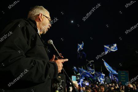Editorial photo of Brexit Day demonstration outside The Scottish Parliament, Edinburgh, Scotland, UK - 31 Jan 2020