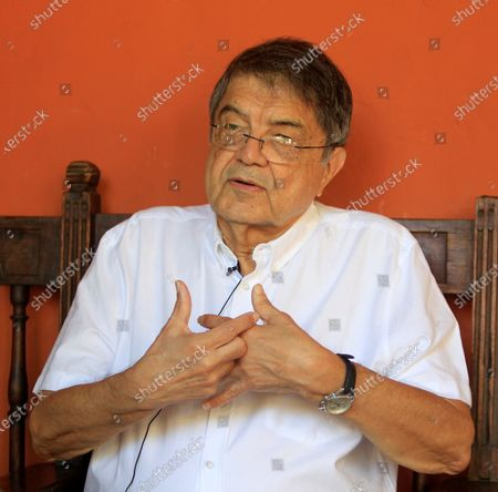 The writer and former vice president of Nicaragua, Sergio Ramirez speaks in an interview with EFE during the second day of the 15th edition of the Hay Festival in Cartagena, Colombia, 31 January 2020.