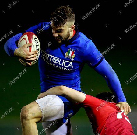 Wales U20 vs Italy U20. Wales' Josh Thomas and Federico Mori of Italy