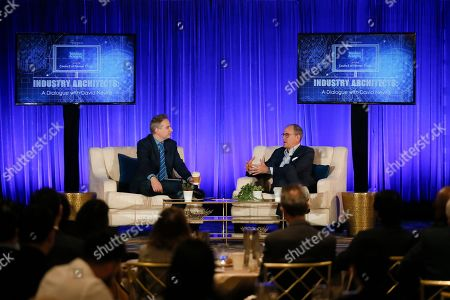 """David Nevins, Michael Schneider. David Nevins, right, Chief Creative Officer, CBS Corporation, and Chairman and Chief Executive Officer, Showtime Networks Inc., and Michael Schneider, Senior Editor, TV Awards, Variety, engage in provocative, insightful conversation for the Television Academy's """"Industry Architects: a Dialogue with David Nevins,"""" the third in a series of provocative conversations presented by the Academy's Council of Former Chairs on at the Beverly Wilshire Hotel in Los Angeles"""