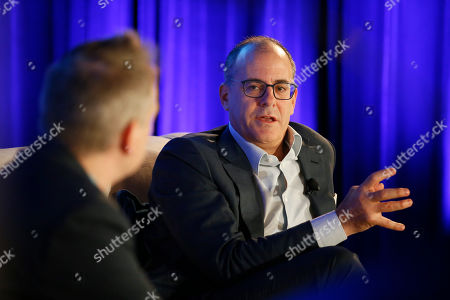 """Stock Picture of David Nevins, Michael Schneider. David Nevins, right, Chief Creative Officer, CBS Corporation, and Chairman and Chief Executive Officer, Showtime Networks Inc., and Michael Schneider, Senior Editor, TV Awards, Variety, engage in provocative, insightful conversation for the Television Academy's """"Industry Architects: a Dialogue with David Nevins,"""" the third in a series of provocative conversations presented by the Academy's Council of Former Chairs on at the Beverly Wilshire Hotel in Los Angeles"""