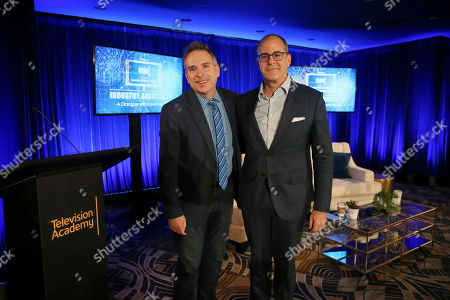 """David Nevins, Michael Schneider. David Nevins, right, Chief Creative Officer, CBS Corporation, and Chairman and Chief Executive Officer, Showtime Networks Inc., and Michael Schneider, Senior Editor, TV Awards, Variety, pose after a provocative, insightful conversation for the Television Academy's """"Industry Architects: a Dialogue with David Nevins,"""" the third in a series of provocative conversations presented by the Academy's Council of Former Chairs on at the Beverly Wilshire Hotel in Los Angeles"""
