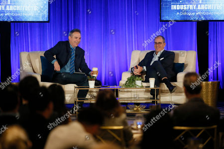 """Stock Image of David Nevins, Michael Schneider. David Nevins, right, Chief Creative Officer, CBS Corporation, and Chairman and Chief Executive Officer, Showtime Networks Inc., and Michael Schneider, Senior Editor, TV Awards, Variety, engage in provocative, insightful conversation for the Television Academy's """"Industry Architects: a Dialogue with David Nevins,"""" the third in a series of provocative conversations presented by the Academy's Council of Former Chairs on at the Beverly Wilshire Hotel in Los Angeles"""