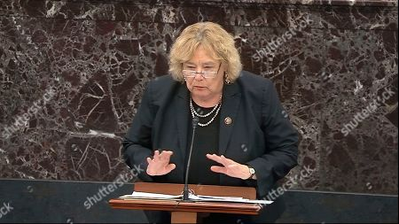 In this image from video, House impeachment manager Rep. Zoe Lofgren, D-Calif., speaks during debate ahead of a vote on calling witnesses during the impeachment trial against President Donald Trump in the Senate at the U.S. Capitol in Washington