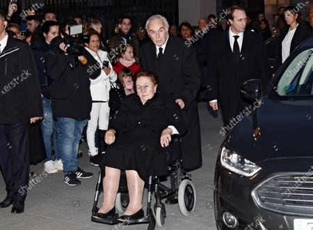 Margarita de Borbon (C-L), sister of Emeritus Juan Carlos, and her husband Duke of Soria (C-R) attend the funeral of Spanish Infanta Pilar de Borbon, Infanta Pilar and Spain's Emeritus Juan Carlos I's sister, at La Almudena Cathedral in Madrid, Spain, 31 January 2020. The funeral is held 21 days after the death of the princess at 83.