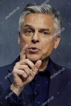 Republican ex-Russia ambassador Jon Huntsman Jr. speaks during a debate for Utah's 2020 gubernatorial race, in Salt Lake City. Six candidates vying for the GOP nomination in the Utah governor's race meet for their first debate. The debate is part of the Silicon Slopes Tech Summit, a conference for the state's burgeoning tech sector