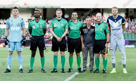 1st February 2020; HBF Park, Perth, Western Australia, Australia; A League Football, Perth Glory versus Melbourne Victory; Liam Reddy of the Perth Glory and Ola Toivonen of Melbourne Victory pose with the referees before the start of the match