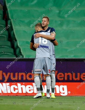 1st February 2020; HBF Park, Perth, Western Australia, Australia; A League Football, Perth Glory versus Melbourne Victory; Ola Toivonen celebrates with Migjen Basha of Melbourne Victory after scoring in the 24th minute to have Melbourne up 1-0