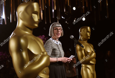Stock Picture of Awards and Events Committee Chair Lois Burwell speaks to reporters at the Governors Ball Press Preview for the 92nd Academy Awards at the Dolby Theatre, in Los Angeles. The Academy Awards will be held at the Dolby Theatre on Sunday, Feb. 9
