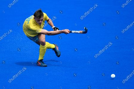 2nd February 2020; Sydney Olympic Park, Sydney, New South Wales, Australia; International FIH Field Hockey, Australia versus Great Britain; Tim Howard of Australia takes a shot on goal