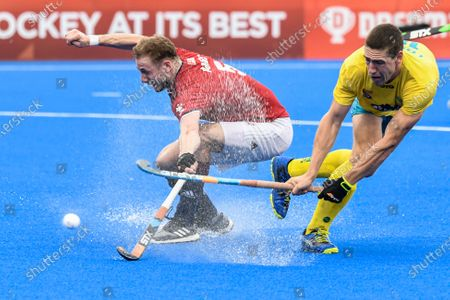 2nd February 2020; Sydney Olympic Park, Sydney, New South Wales, Australia; International FIH Field Hockey, Australia versus Great Britain; Kurt Lovett of Australia takes a shot as David Ames of Great Britain tries to block