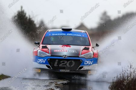 2nd February 2020; Galway, Galway, Ireland; Irish Tarmac Rally Championship, Galway International Rally;  Sam Moffett and James Fulton (Hyundai i20 R5) claim second place behind  Alastair Fisher and Gordon Noble (Volkswagen Polo GTI R5)