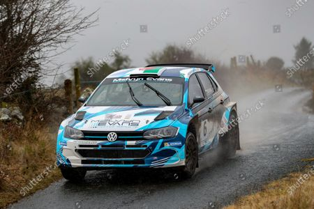 Stock Image of 2nd February 2020; Galway, Galway, Ireland; Irish Tarmac Rally Championship, Galway International Rally;  Meirion Evans and Jonathan Jackson (Volkswagen Polo GTI R5) finish the rally in 4th place overall