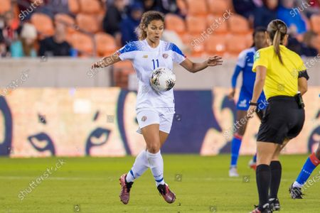 Costa Rica midfielder Raquel Rodriguez (11) controls the ball during the 2nd half of a CONCACAF Olympic Qualifying soccer match between Haiti and Costa Rica at BBVA Stadium in Houston, TX. Costa Rica won the game 2 to 0