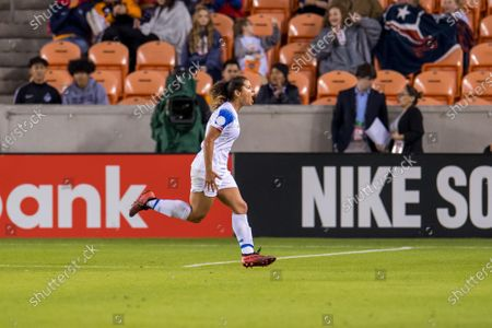 Costa Rica midfielder Raquel Rodriguez (11) celebrates her second goal of the night during the 2nd half of a CONCACAF Olympic Qualifying soccer match between Haiti and Costa Rica at BBVA Stadium in Houston, TX. Costa Rica won the game 2 to 0