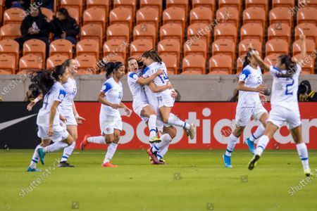 Costa Rica celebrates a goal by midfielder Raquel Rodriguez during the 2nd half of a CONCACAF Olympic Qualifying soccer match between Haiti and Costa Rica at BBVA Stadium in Houston, TX. Costa Rica won the game 2 to 0