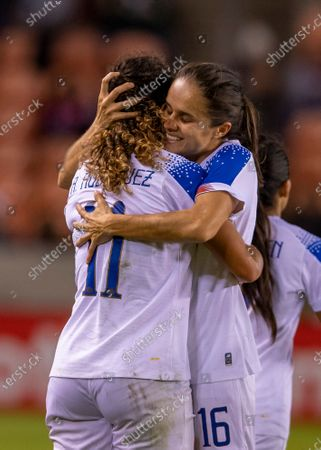 Stock Image of Costa Rica midfielder Raquel Rodriguez (11) celebrates her goal with teammate midfielder Katherine Alvarado (16) in the second half during the CONCACAF Group A Women's Olympic Qualifying match against the Haiti at BBVA Stadium in Houston, Texas. Maria LysakerCSM