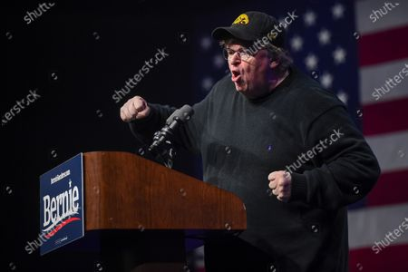 US filmmaker Michael Moore addresses supporters of Senator Bernie Sanders at the Bernie 2020 Caucus Concert, a campaign event for Senator Sanders while he's in Washington DC for the impeachment hearings of US President Donald Trump, at Horizon Events Center in Clive, Iowa, USA, 31 January 2020. The first-in-the-nation Iowa caucuses are scheduled for 03 February 2020.