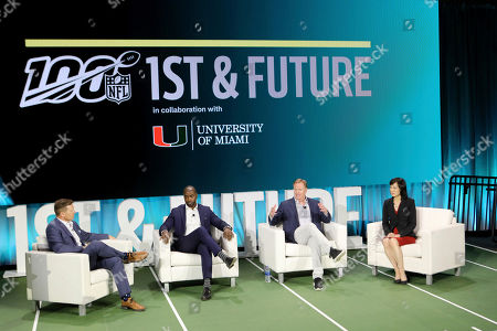From left, host Dan Hellie, NFL Hall of Famer, Curtis Martin, NFL Commissioner Roger Goodell, and Michelle Lee, Vice-president of Amazon ML Solutions Lab sit on a panel at the 1st and Future competition on in Miami Beach, Fla. 1st and Future is the NFL's annual competition designed to spur innovation in player health, safety and performance
