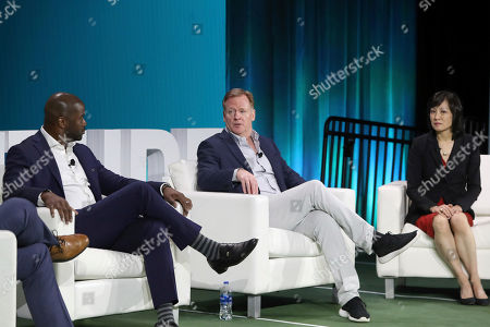 Stock Photo of Roger Goodell, Michelle Lee, Curtis Martin. NFL Commissioner Roger Goodell speaks with Michelle Lee, Vice-president of Amazon ML Solutions Lab and NFL Hall of Famer Curtis Martin while on a panel at the 1st and Future competition on in Miami Beach, Fla. 1st and Future is the NFL's annual competition designed to spur innovation in player health, safety and performance