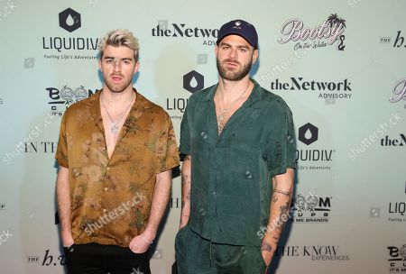 "Andrew ""Drew"" Taggart, Alexander ""Alex"" Pall. The Chainsmokers, left, Andrew Taggart and Alexander Pall attend the Bootsy On the Water at the Miami Seaquarium on Friday, Jan. 31,2020, in Miami, FL"