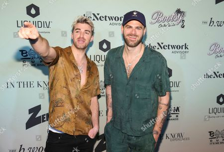 "Andrew ""Drew"" Taggart, Alexander ""Alex"" Pall. The Chainsmokers, left Andrew Taggart and Alexander Pall attend the Bootsy On the Water at the Miami Seaquarium on Friday, Jan. 31,2020, in Miami, FL"