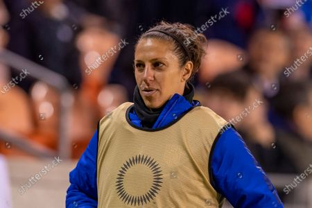 United States forward Carli Lloyd (10) warming up on the sideline in the first half during the CONCACAF Group A Women's Olympic Qualifying match against the Panama at BBVA Stadium in Houston, Texas