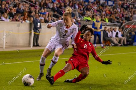 United States defender Becky Sauerbrunn (4) and Panama midfielder Katherine Castillo (8) battle for the ball in the second half during the CONCACAF Group A Women's Olympic Qualifying match at BBVA Stadium in Houston, Texas