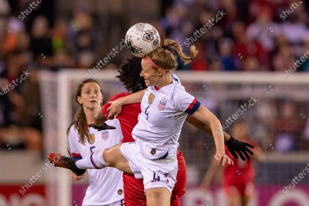 United States defender Becky Sauerbrunn (4) heads the ball in the first half during the CONCACAF Group A Women's Olympic Qualifying match against the Panama at BBVA Stadium in Houston, Texas