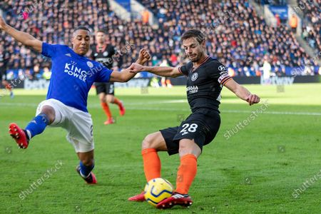 Cesar Azpilcueta (28) clears from Ricardo Pereira (21) during the Premier League match between Leicester City and Chelsea at the King Power Stadium, Leicester