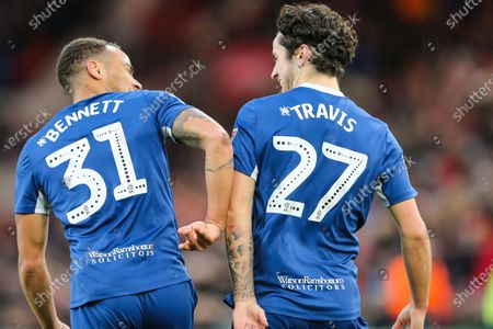 Stock Picture of Blackburn Rovers midfielder Elliott Bennett (31) and Blackburn Rovers midfielder Lewis Travis (27) celebrate after Travis scores his team's first goal during the EFL Sky Bet Championship match between Middlesbrough and Blackburn Rovers at the Riverside Stadium, Middlesbrough