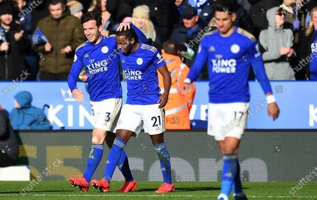 Leicester City's Ben Chilwell (L) celebrates with team mate Ricardo Pereira (R) after scoring against Chelsea during an English Premier League soccer match at the King Power Stadium in Leicester, Britain, 01 February 2020.