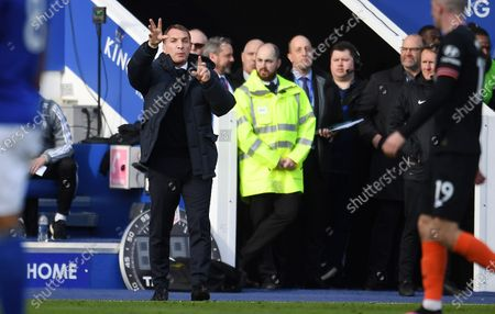 Leicester City manager Brendan Rogers reacts during an English Premier League soccer match against Chelsea at the King Power Stadium in Leicester, Britain, 01 February 2020.