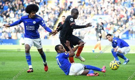 Chelsea's N'Golo Kante (top) vies for the ball witj Leicester City's Ricardo Pereira (bottom) during an English Premier League soccer match at the King Power Stadium in Leicester, Britain, 01 February 2020.
