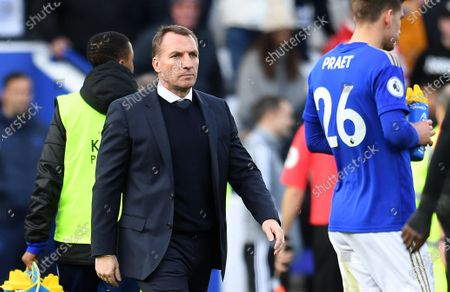 Leicester City manager Brendan Rogers following his teams 2-2 draw with Chelsea during an English Premier League soccer match at the King Power Stadium in Leicester, Britain, 01 February 2020.
