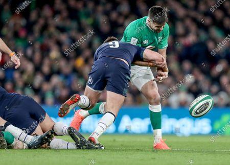 Ireland vs Scotland. Ireland's Conor Murray is tackled by Ali Price of Scotland