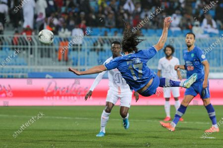 Al-Fateh's Matias Aguirregaray (R) in action against Al-Shabab's Hassan Muath (L) during the Saudi Professional League soccer match between Al-Fateh and Al-Shabab at Prince Faisal bin Fahd Stadium, Al-Ridah, Saudi Arabia, 01 February 2020.
