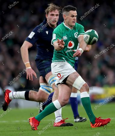 Ireland vs Scotland. Scotland's Jonny Gray and Johnny Sexton of Ireland
