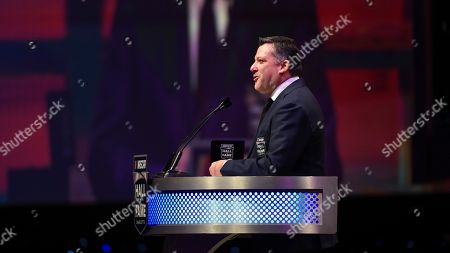 Stock Photo of NASCAR Hall of Fame inductee Tony Stewart talks about his career in racing during the induction ceremony in Charlotte, N.C