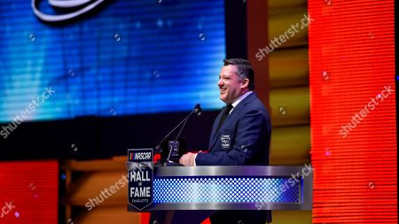 NASCAR Hall of Fame inductee Tony Stewart talks about his career in racing during the induction ceremony in Charlotte, N.C